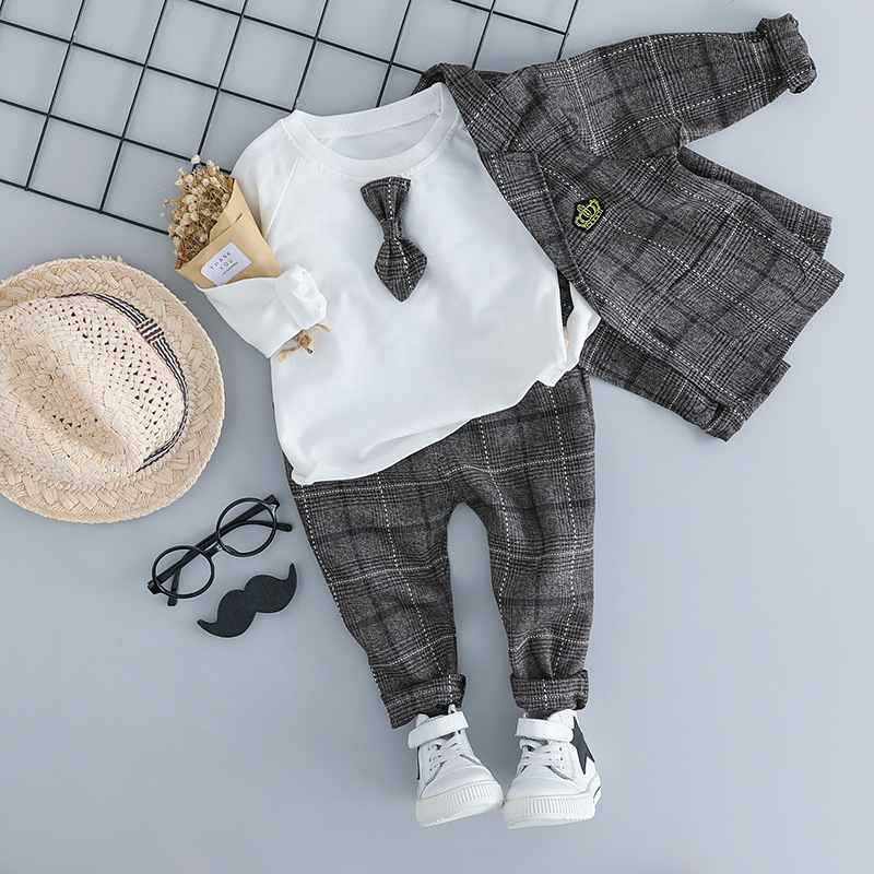 KINE PANDA Baby Boy Clothes Suit Boys Clothing Set Formal Dress Coat + T shirt + Trousers 3PCS Plaid British Gentleman 6M 1 2 3Y