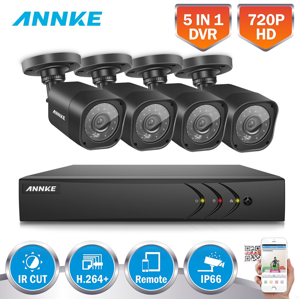 ANNKE New 8CH HD 5in1 1080N Video Security System DVR 720P Weatherproof Indoor Outdoor Cameras With Smart IR Motion Detection annke 8 channel hd 1080n video security system dvr 4 hd 960p indoor outdoor cameras with ip66 weatherproof