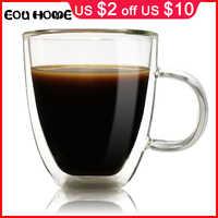 350ml High Quality Handmade Heat Resistance Double Wall Clear Glass Cup Coffee Milk Tea Beer Drink Mug Transparent Drinkware
