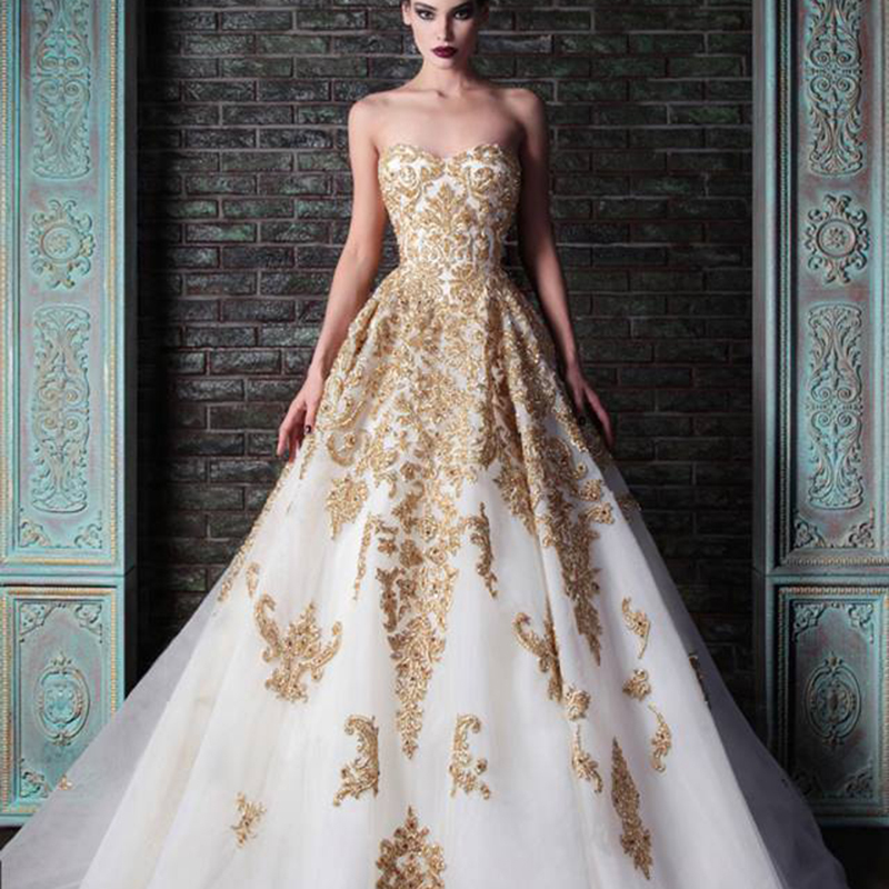 Online Buy Wholesale gold white wedding dress from China gold ...