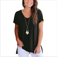 2019 Summer Tops for Women Solid Short Sleeve T Shirt Casual V Neck Tops Fashion Side Split Loose Femme Tee Shirt Plus Size XXXL plus drawstring side solid tee dress