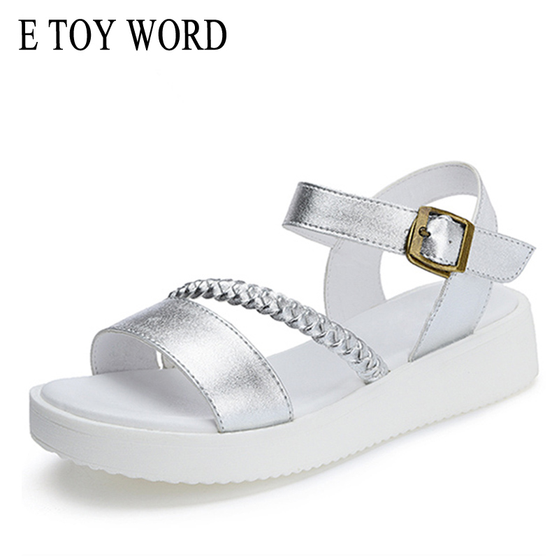 E TOY WORD 2018 summer fashion sandals women flat open toe wild women's shoes flat with thin belt buckle women's sandals e toy word summer platform wedges women sandals antiskid high heels shoes string beads open toe female slippers