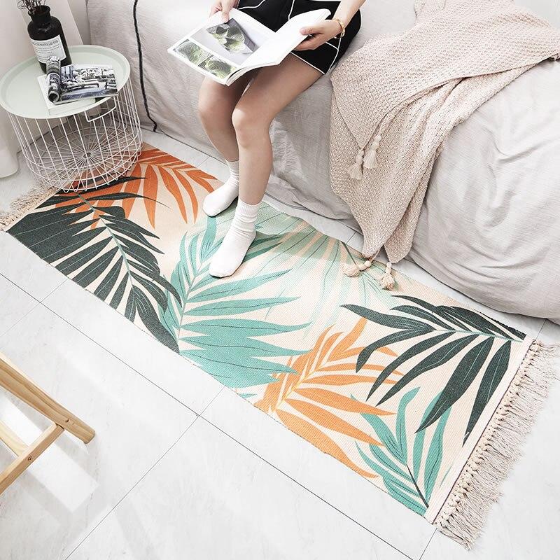 Tapis en coton tapis Style nordique tapis décoratif sol frais noix de coco forêt contractée décoration