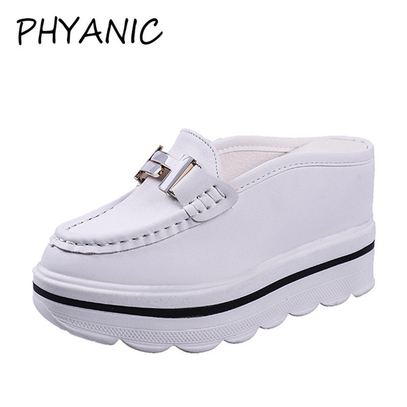 PHYANIC 2018 Summer New Slides Elegant Metal Decoration Women Platform Sandals Wedge 10cm High Heels Mules Shoes Woman CAZ3241 phyanic platform gladiator sandals 2017 new casual wedge shoes woman summer women ankle boots side zipper party shoes phy5036