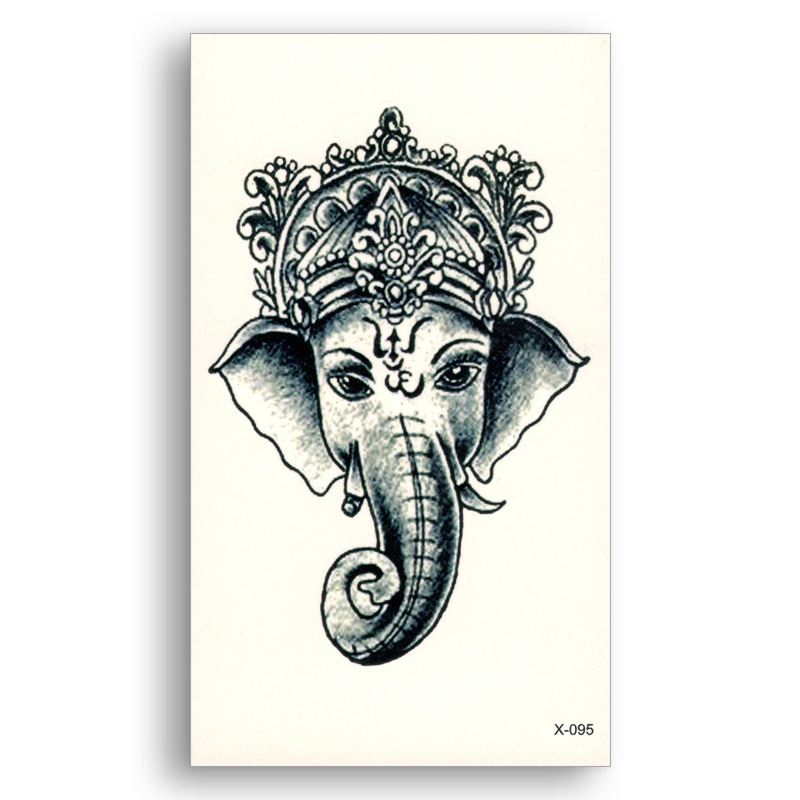 2 unids Falso tatuaje Temporal de Transferencia de Agua Etiqueta Elefante Indio