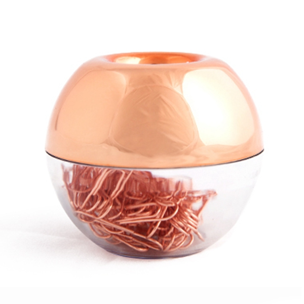 100 Paper Clips In Rose Gold Magnetic Clip Dispenser, Rose Gold Paper Clips Holder, 28mm, Rose Gold, 100 Clips Per Box