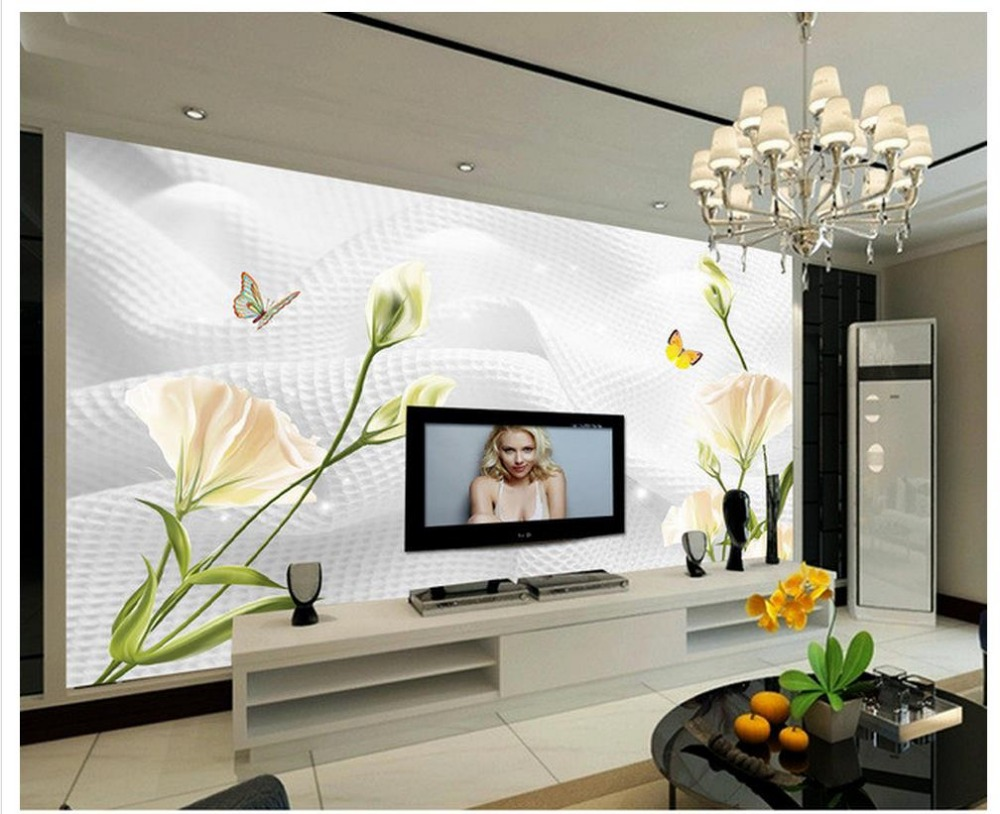 online get cheap simple nature photos aliexpress com alibaba group wallpaper 3d modern modern simple lily flower fashion tv backdrop wall mural photo wallpaper home decoration
