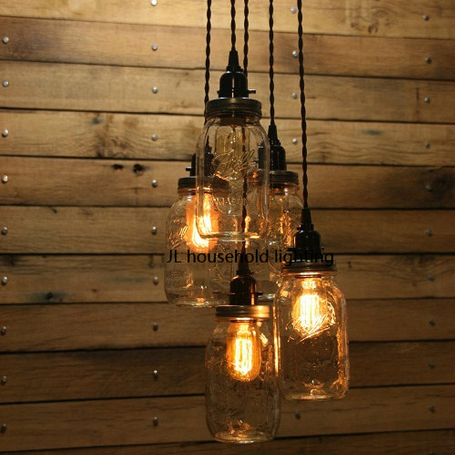 Mason Jar Pendant Light Lamps Lighting Fixtures Bar Rustic Edison Bulb Ac90 260v Novelty