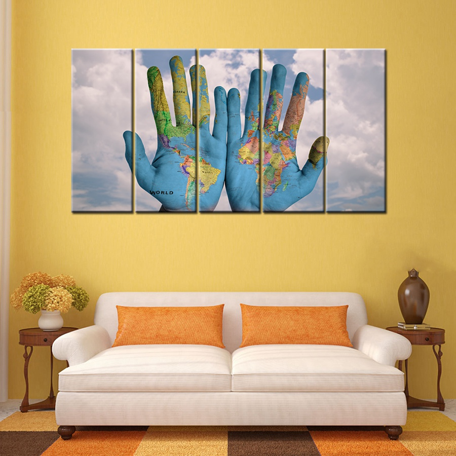 World Map Graffiti on the Palm of Your Hand 5 Panels Canvas Painting ...