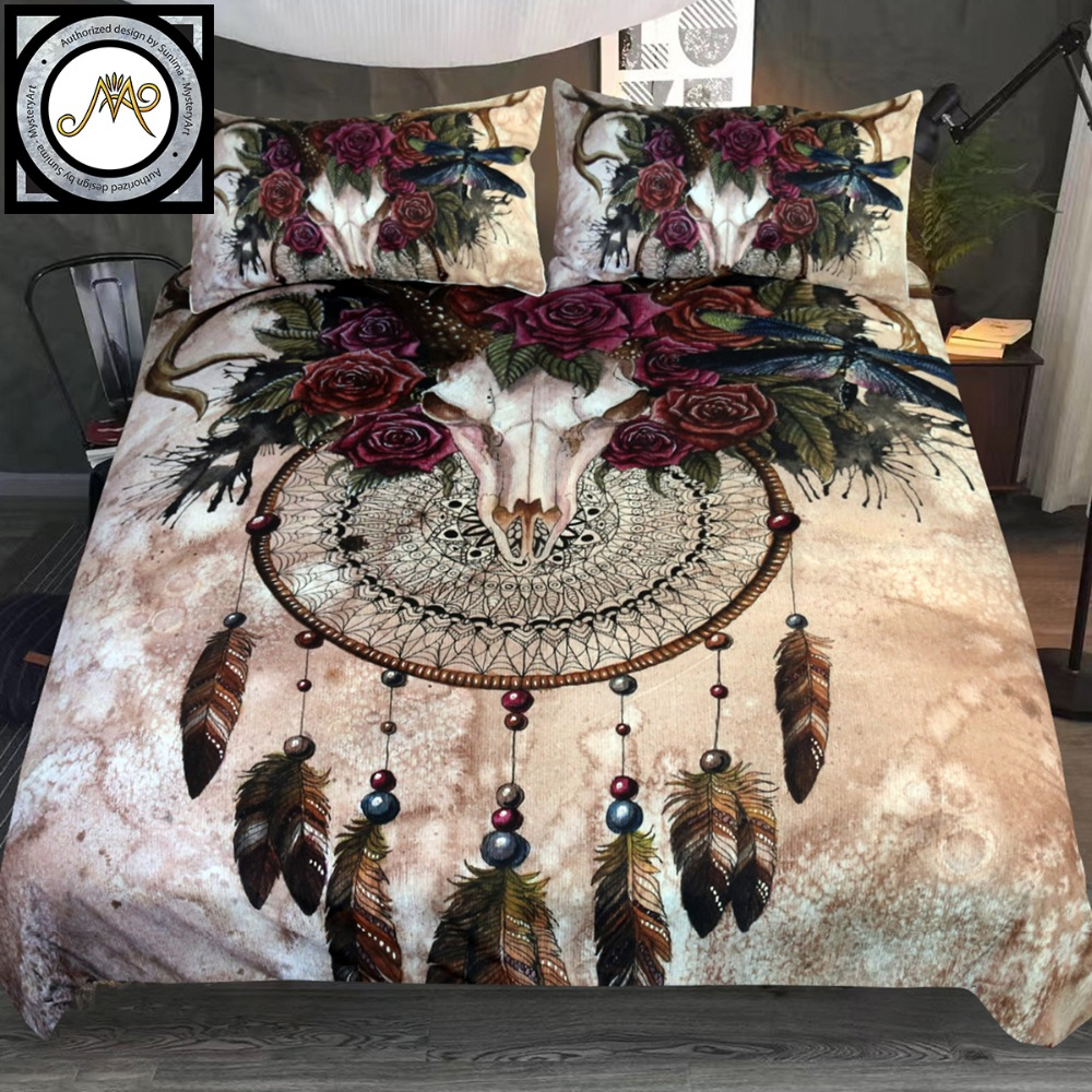 Dropshipping 3-Piece  Mystery Skull Dreamcatcher  Bedding Set Roses Bedclothes Floral Bed Cover Set Gothic Vintage