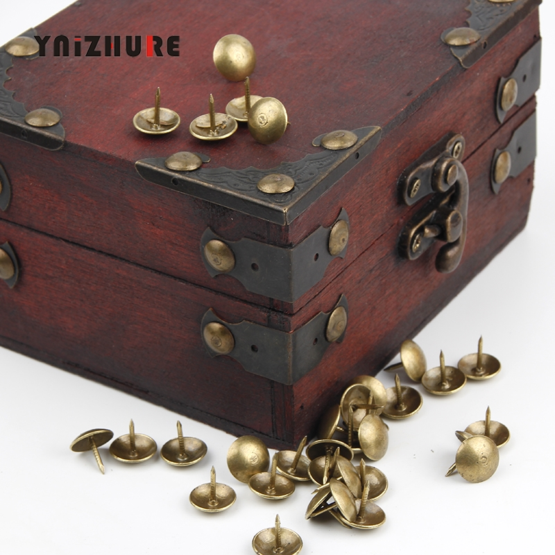 100Pcs Iron Bronze Antique Brass Upholstery Nail Jewelry Gift Box Sofa Decorative Upholstery Nails For Furniture Tacks Pushpins