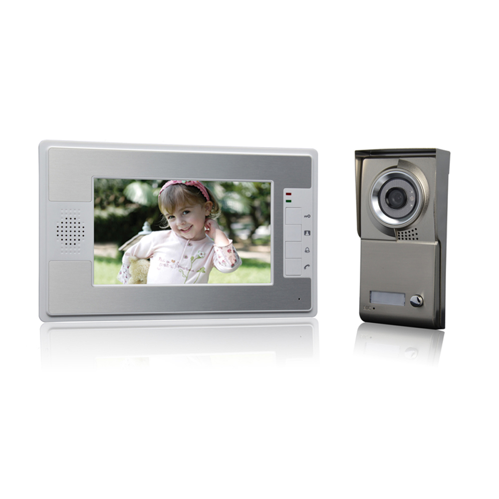 (1 set) NEW 7 inch colorful display 600TVL line HD One to One Video Door Phone home use talk back intercom waterproof camera
