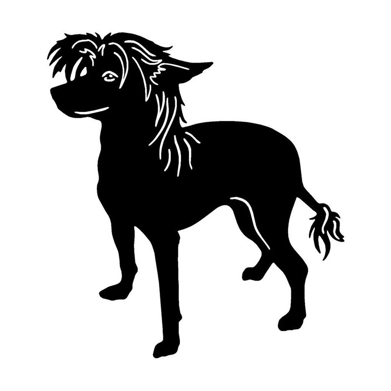 11.7*12.7CM Chinese Crested Dog Lovely Classic Animal Car Styling Decorative Stickers Personalized Car Tail Decals C6-0725