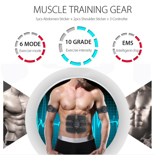 EMS Wireless Muscle Stimulator Trainer Smart Fitness Abdominal Training Electric Weight Loss Stickers Body Slimming Belt Unisex 2