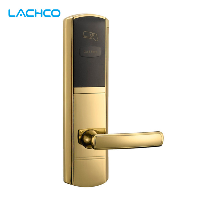 LACHCO  Digital Card Lock Electronic Door Lock for Home Hotel US Mortise Zinc Alloy Matte Gold L16048SG t57 white card for hotel lock in our store