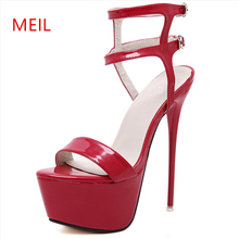 34-46 Ultra High Heels 16CM Fine Sandals Women Heel Platform Nightclub Stripper Steel Pipe Dance Model Shoes