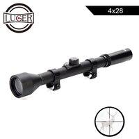 LUGER 4X28 охотничий оптический прицел для страйкбольного оружия Тактический игровой прицел подходит для 11 мм рельс Телескопический Снайперск...