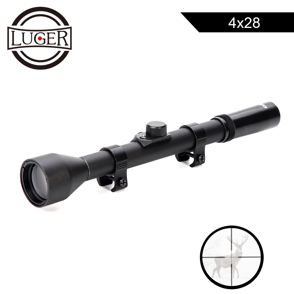 LUGER 4X28 Hunting Optical Sight Riflescope For Airsoft Guns Tactical Game Rifle Scope Fit 11mm Rail Telescopic Sniper Scope