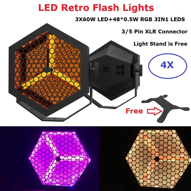 4Pcs/Lot Newest 3X60W LED Flat Par Lights 48X0.5W RGB 3IN1 DMX Retro Flash Lights Disco Lights Stage Lighting Shows Equipments