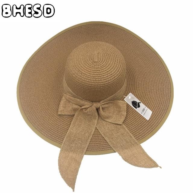 BHESD 2017 Mujeres Large Floppy Paja Sombreros Del Sol Del Verano Femenino  tapas de Las Señoras ab1b29ac0ed