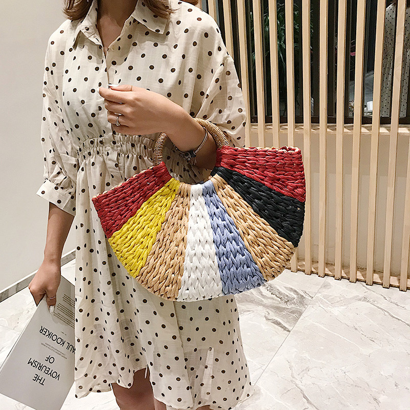 Fashion Straw Bag Women's Summer Rattan Bag Handmade Woven Bohemia Beach Ladies Handbags Wicker Travel Shoulder Bag Big Tote Bag-in Shoulder Bags from Luggage & Bags