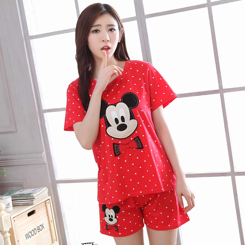 95b4c61c3a65 Summer new Women Cotton Cute Pajama Set Short Sleeve Sleepwear Suit Girl  cartoon Print Pyjama Set