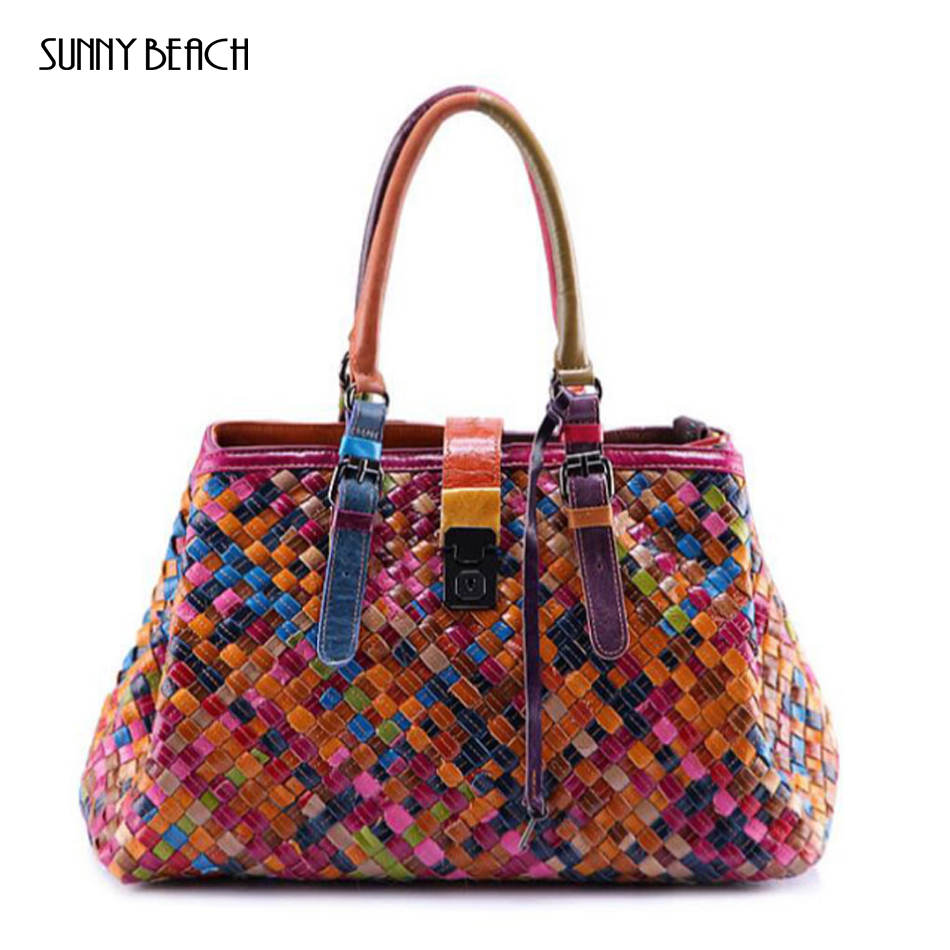 New Women Genuine Leather handbag Luxury Patchwork Design women bag Hand knitted woman bag and shoulder