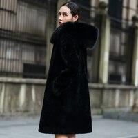 Для женщин натуральной Дубленки пальто с большим изображением лисы Мех животных капюшон натуральный Мех животных пальто зимнее rf0100