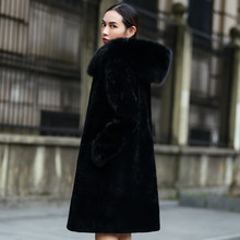 Women's Real Sheepskin Shearling Coat with Big Fox Fur Hood Natural Fur Coat Winter rf0100(China)