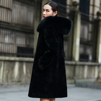 Women's Real Sheepskin Shearling Coat with Big Fox Fur Hood Natural Fur Coat Winter rf0100