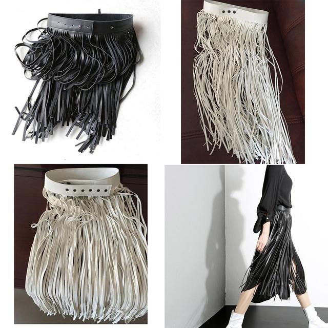 Franja de La Borla de Imitación De Cuero Negro Correa de Las Señoras 2016 Todo A Juego de Cintura Alta Mujeres de La Manera Larga Cinturones