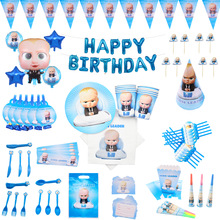 Boss baby Theme Birthday Party Decorations Kids Tableware Party Cup Plate Napkins cupcake Banner balloons Baby Shower Supplies