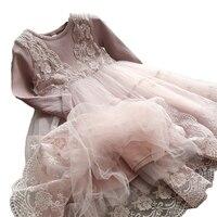 秋冬女の子ドレス2017カジュアルロングスリーブlacemeshキッズドレス女の子秋服かわいいプリンセスドレ