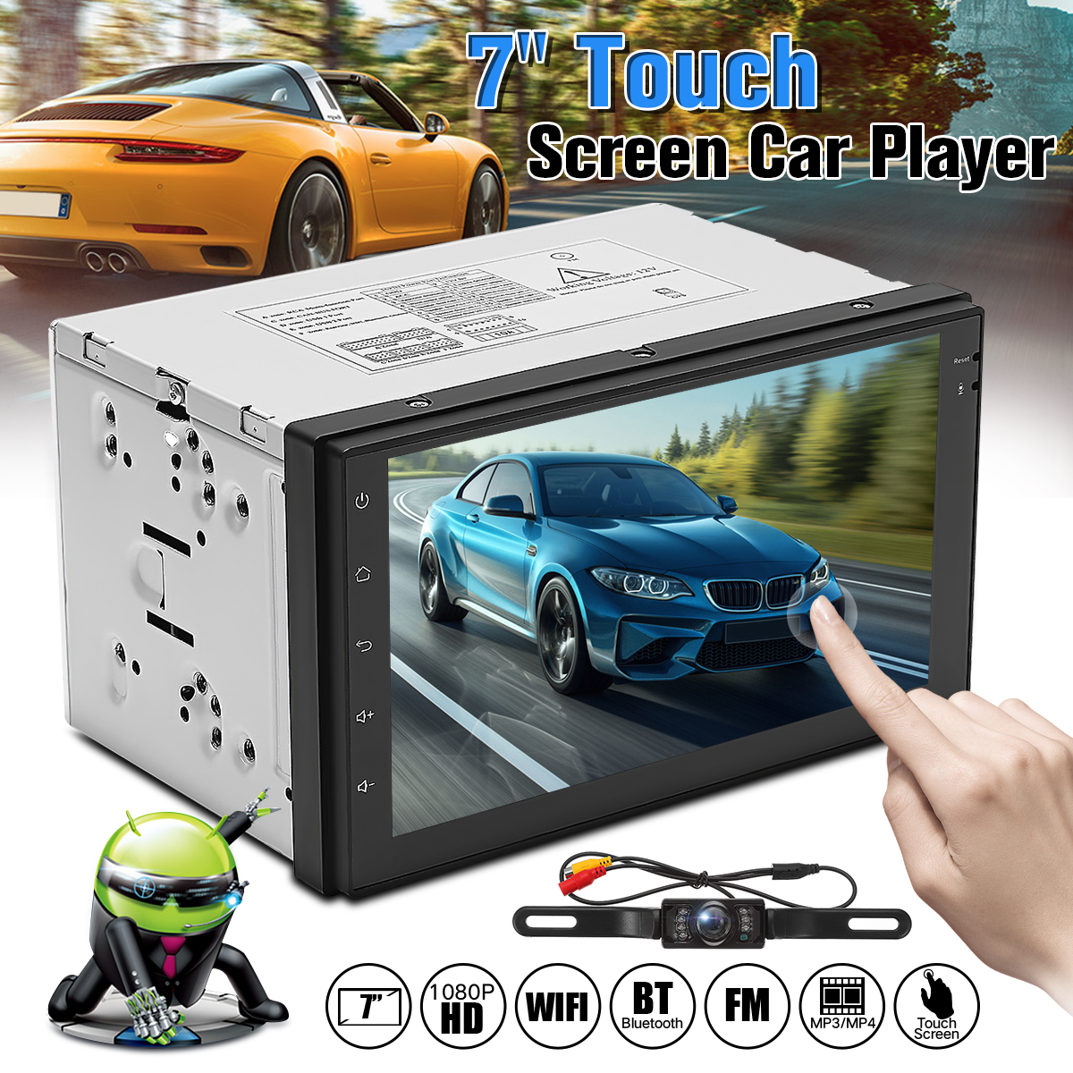 7 inch 2 Din Android 6.0 Car MP5 Player Auto Stereo DVD FM Radio Wifi GPS Navigation 4Core Blurtooth Autoradio +Rear View Camera 7 2 din touch screen car stereo mp5 player 4core android os bluetooth wifi gps navigator auto fm radio autoradio mirror link