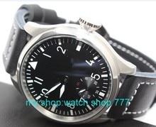 47 мм Большой циферблат ПАРНИС пилот 6498 Рука Обмотки Черный Циферблат Наручные Часы Мужчины Высокого качества часы Оптом