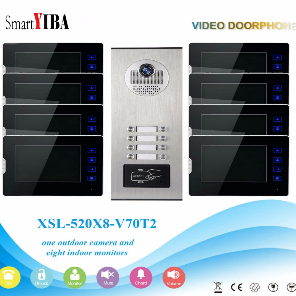 SmartYIBA Wired 7Inch Monitor Video Intercom Door Phone Doorbell System Outdoor RFID Access Camera Intercom For 8 Apartment