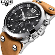 купить LIGE Mens Watches Top Brand Luxury Military Sport Watch Men Leather Waterproof Quartz Watch Male Date Clock Reloj Hombre 2018 по цене 1998.23 рублей