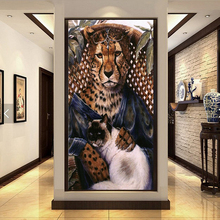 5D DIY Diamond embroidery Leopard and Cat animals Pictures Full Resin round rhinestone mosaic kit Painting cross stich