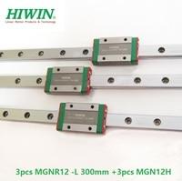 3pcs Taiwan Original HIWIN linear guide rail MGN12 L 300mm + 3pcs MGN12H slide blocks for mini CNC kit MGNR12 12mm