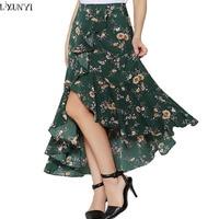 LXUNYI Maxi Elegant Skirts For Women 2018 Summer Holiday Irregular Ruffles Bohemian Skirts Womens Printed Long Skirt Fashions