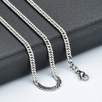 "50pcs 4mm Silver Tone Stainless Steel Men Boy's Curb link Chain Necklace suit for Pendant 18""-30"""