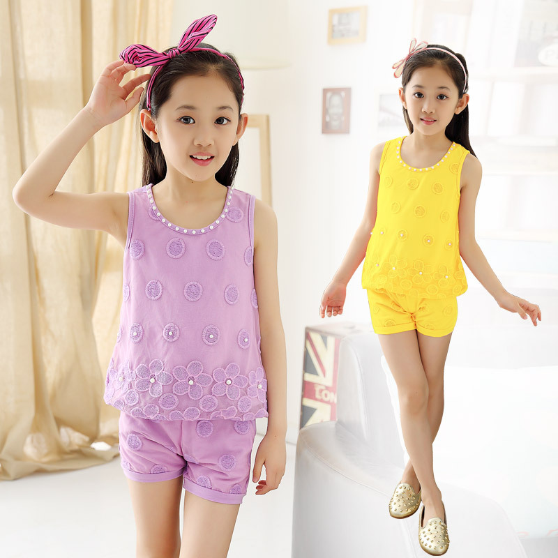 Kids Girls Summer Children New Lace Two Piece Sports Sleeveless T-shirt Suit Kids Clothing Sets 4 Colour