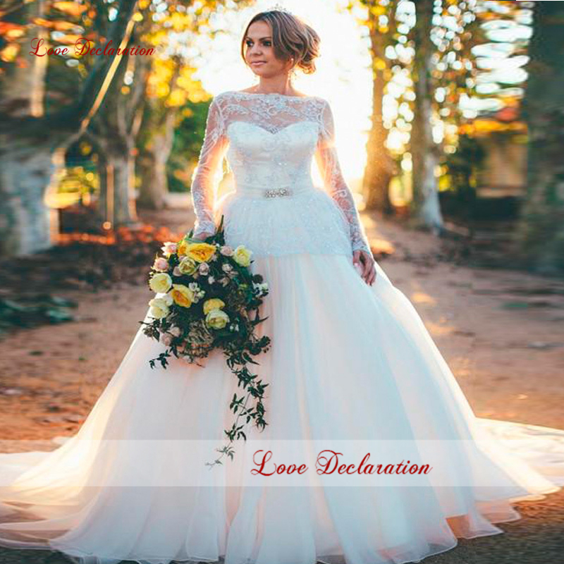 New Design Beautiful Lace Long Sleeves Wedding Dre...