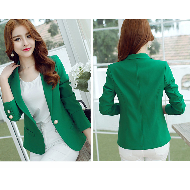 Ohryiyie Green/yellow Single Button Ladies Blazers Women 2019 Spring Autumn Women Suit Jackets Blazer Femme Office Tops Coats #4