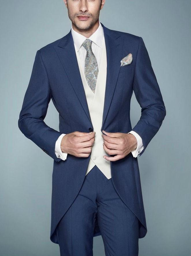 The morning of a navy blue button style groom dresses wedding ...