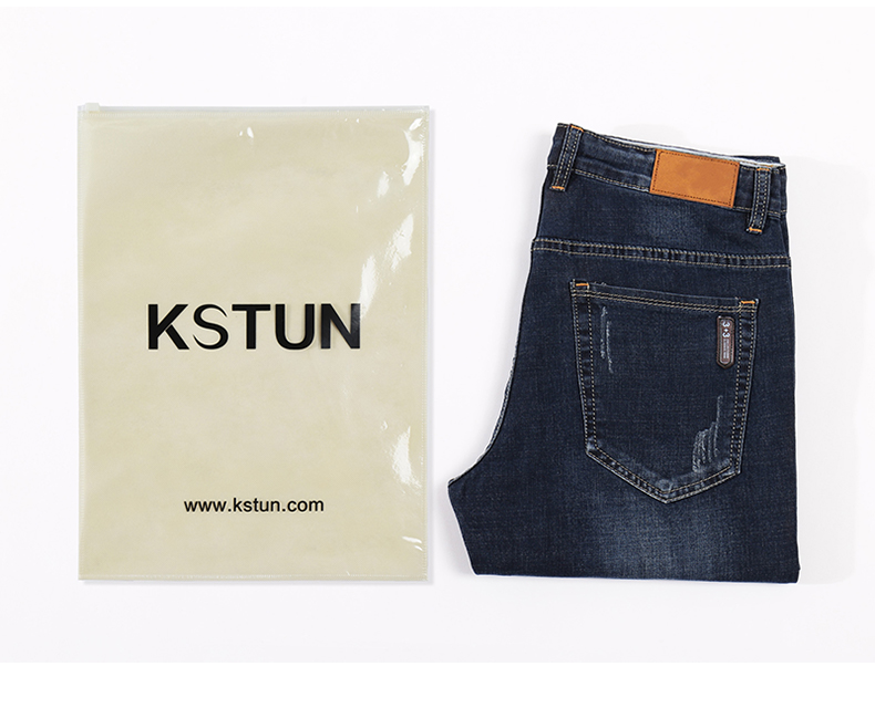 KSTUN Men's Jeans 2020 Summer Denim Pants Slim Straight Dark Blue Regular Fit Leisure Long Trousers Famous Brand Jean Men Hombre 19