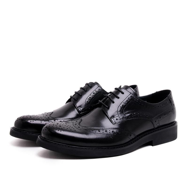 Cuero Redonda Zapatos Tallada Black Negocios vino Brogue Clásica Punta 2018 Chaussures Hombres Tinto Caballero De Hommes Marca Heinrich v7qHEH
