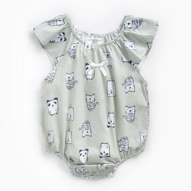 Newborn baby clothes summer style cartoon cotton animal panda baby bodysuit ...