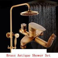 Copper Antique shower faucet set shower head, Bathroom brass wall mounted shower set, Vintage rain shower faucet mixer tap