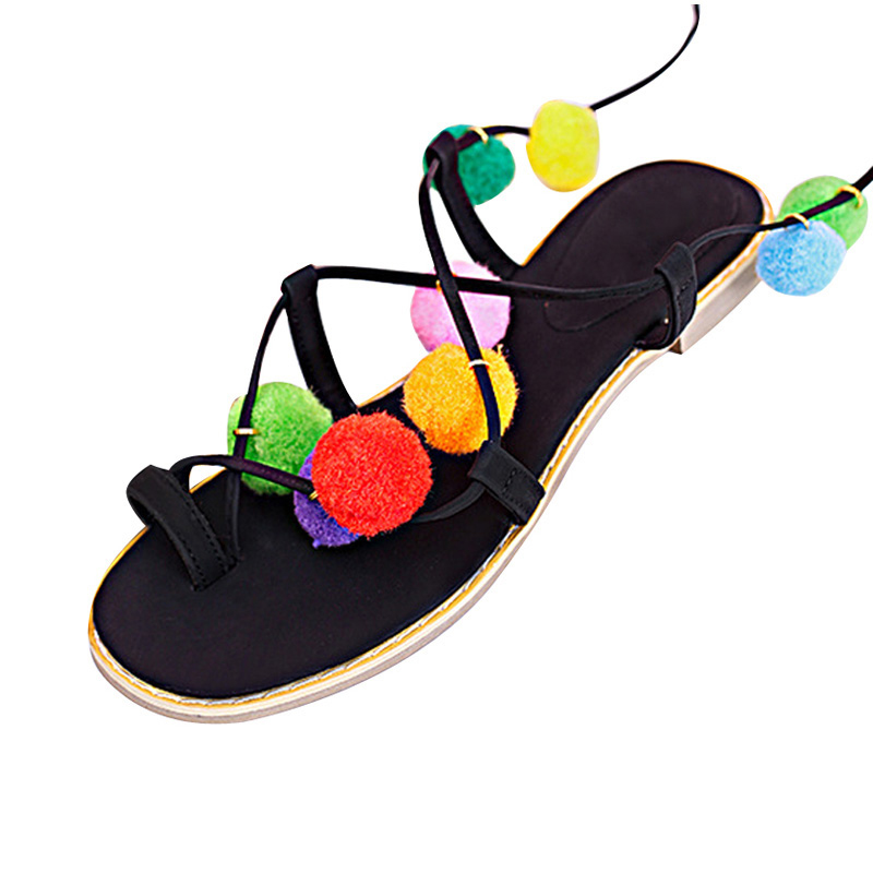 33733db91f5c Summer New Colorful Flower Ball PomPom Sandals Sandals Flat with Roman  Gladiator High Lace Thong Flip